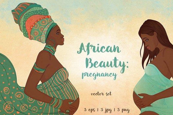 African Beauty: Pregnancy. 3 vectors - Illustrations