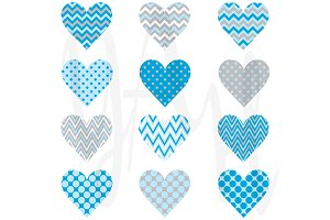 Blue Chevron Polka Dot Heart Shape