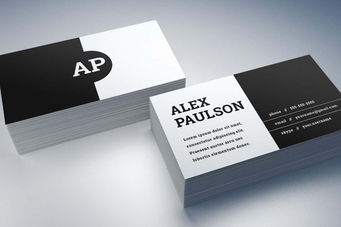 Black White Business Card Design 008 Templates Creative Market