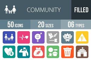 50 Community Flat Round Corner Icons