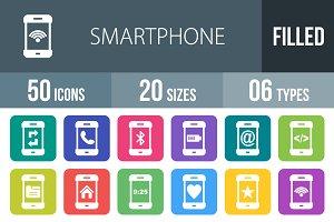 50 Smartphone Flat Round Corner Icon