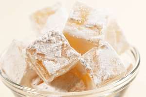 Lukum (Turkish Delight) in a bowl