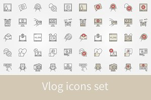 Vlog icons set