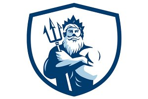 Triton Trident Arms Crossed Crest