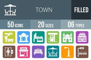 50 Town Flat Round Corner Icons