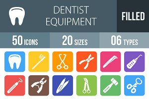 50 Dentist Flat Round Corner Icons