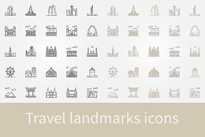 Travel landmarks icons set