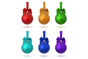 Set of six Christmas tree balls.