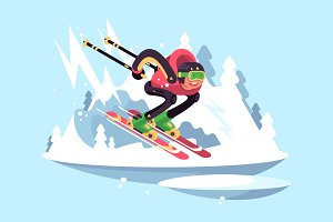 Man skiing in winter