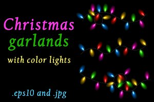 Christmas garlands with color lights