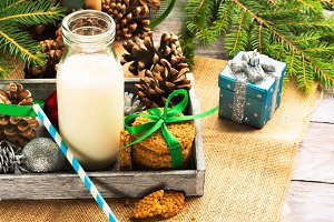 Christmas still life with milk