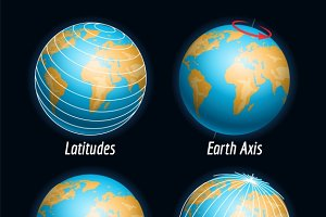 Earth with latitudes longitude lines