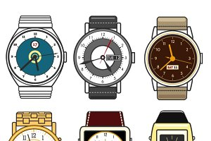 Color watches vector set