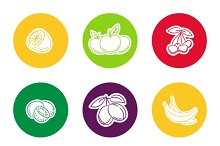 Line fruit icon set