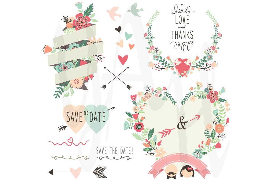 Vintage Flowers Wedding invitation ~ Illustrations ~ Creative Market