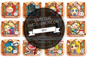 Cute Girl Cartoon Emoticon / Emoji