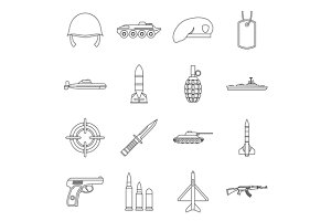 Military icons set, outline style
