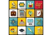 Education icons set, flat style