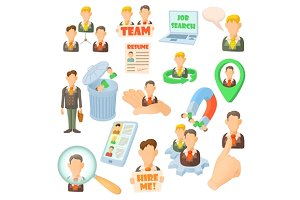 Human resource icons set