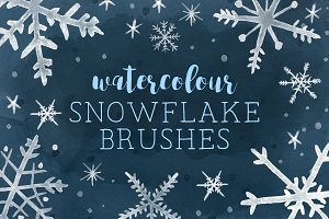 Watercolor snowflake brushes