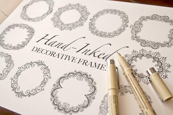 Hand-Inked Decorative Frames