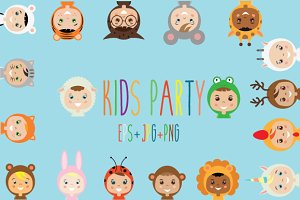 Kids in animal costumes. eps+jpg+png