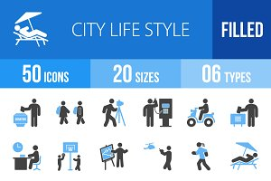 50 City Lifestyle Blue & Black Icons