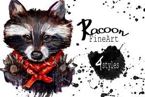 Set racoon fineart .4 styles