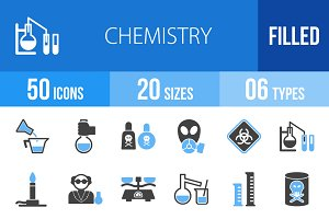 50 Chemistry Blue & Black Icons