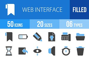 50 Web Interface Blue & Black Icons