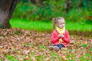 Adorable little girl with autumn leaves in the beautiful park