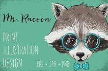 Mr. Raccoon print illustration