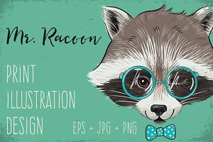 Mr. Raccoon print illustration
