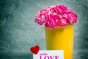Love card with pink carnation
