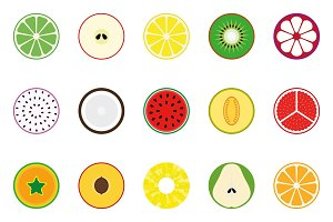 Collection of vector fruit icons