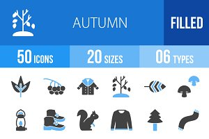 50 Autumn Blue & Black Icons
