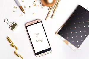 Phone mockup. Golden stylish.