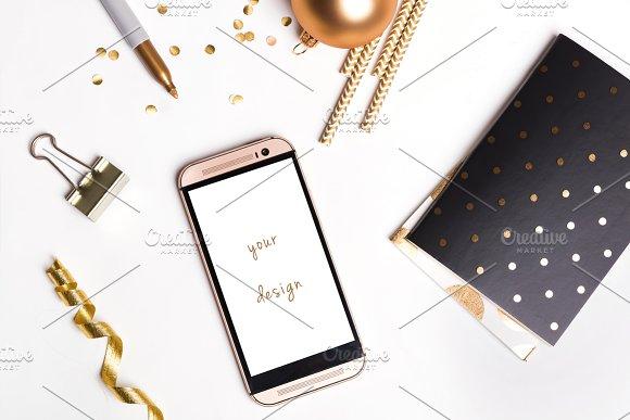 Phone mockup. Golden stylish. - Graphics