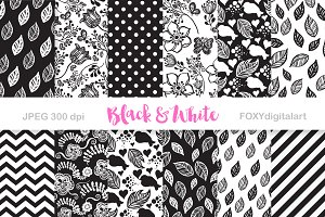 Black White Digital Paper Scrapbook