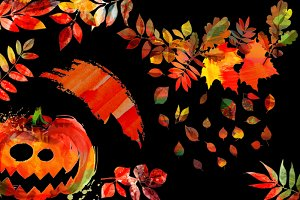 halloween set of watercolor