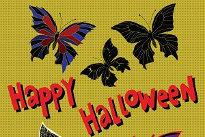 Happy Halloween night butterflies