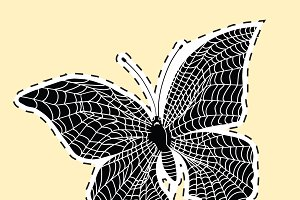 Dark butterfly web label sticker