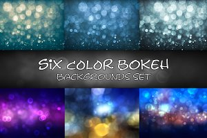 Set of six color bokeh backgrounds