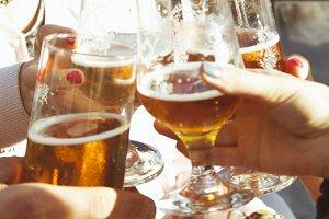 grunge friends drinking on terrace