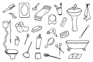 Bathroom accessories collection.