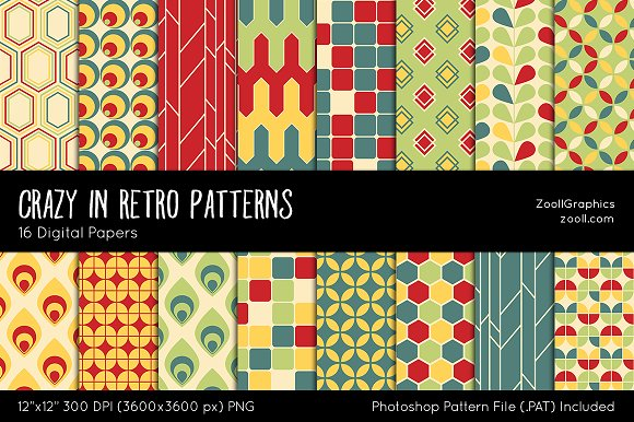 Crazy In Retro Digital Papers