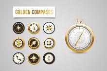 Golden Wind Rose Compasses set