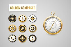 Golden Wind Rose Compasses set