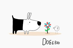 Dog & Bird with a flower