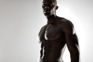 Shirtless male african model